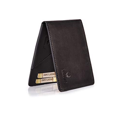 DONBOLSO® Madrid Geldbörse Leder Herren Mini Portemonnaie Flach mit RFID Brieftasche Männer Schwarz