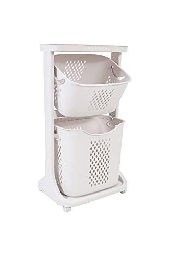 ランドリーバスケット 2段 大容量 洗濯カゴ キャスター おしゃれ 洗濯かご