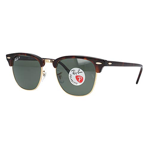 Ray-Ban CLUBMASTER Red Havana Crystal Green polarizado 51mm RB3016 990/58 gafas de sol polarizadas