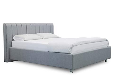ES Design 08 Gestoffeerd bed Antony met 5 jaar garantie, een hoogwaardig bed, lattenbodem en opbergruimte 140 x 200 cm lichtgrijs