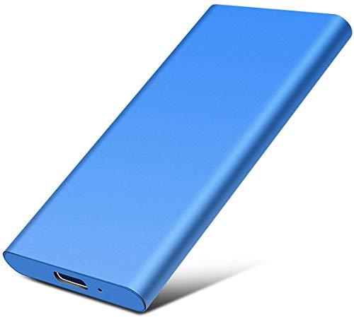 Disco duro externo portátil delgado disco duro externo de 2 TB Type-C/USB 2.0 compatible con PC, portátil y Mac (2TB, 1-Blue)