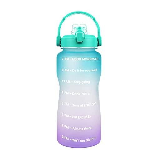RHNE Botella de Agua Motivacional Sin BPA Deportes Fitness Gimnasio al Aire Libre Botella de Agua Botellas Transparentes Herramienta de Gimnasio Verde a púrpura 3800ML 125 * 325 mm