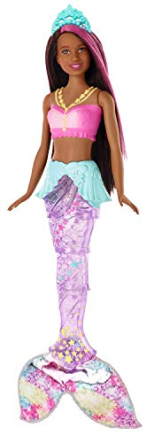 Barbie- Dreamtopia Bambola Sirena Capelli Castani con Coda Che Si Muove e Luci, GFL83