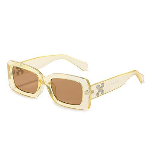 Gafas De Sol Gafas De Sol para Mujer Gafas De Sol Retro Gafas Cuadradas para Mujer Gafas De Sol para Hombre De Lujo Uv400 Yellowtea