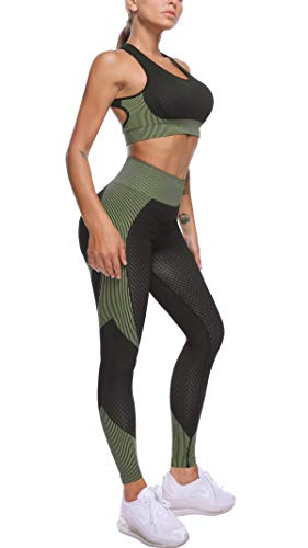 OLCHEE Womens 2 Piece Tracksuit Workout Set - High Waist Leggings and Sport Bra
