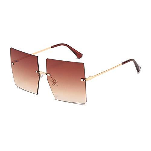 DLSM Gafas de Sol de Mujer Cuadrada de Gran tamaño Vintage sin llanta Océano, Lente, Gafas, Gafas de Sol, Gafas de Sol, Tonos adecuados para Senderismo y Pesca-C4