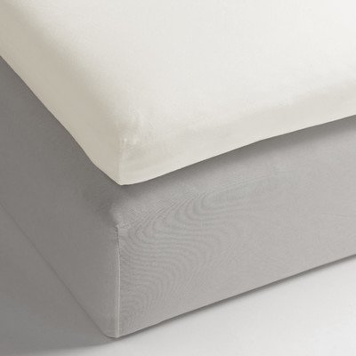 Heckett Lane Uni Satijn Hoeslaken Topper 180x210-220+12 cm - Off-white