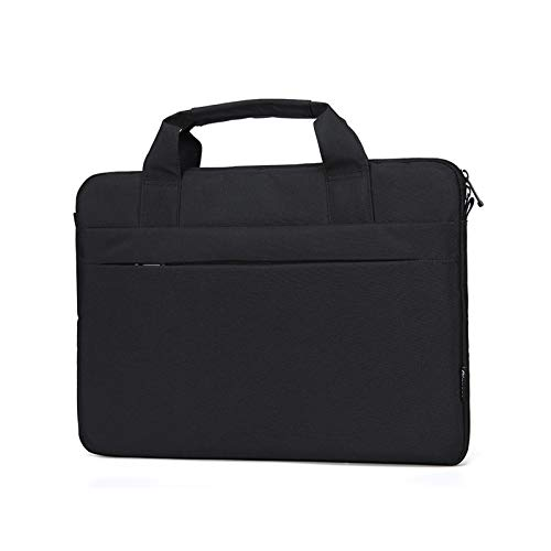KLFD Lightweight Portable Polyester Laptop Bag with Handle, Waterproof Messenger Bag Wear-Resistant Notebook Bag Multifunction Home Office Briefcase Multiple Compartments,Black,13 inches