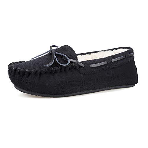 FANTURE Womens Slipper Micro Suede Faux Fur Lined Indoor & Outdoor Moccasins Slip On U419WMT005-Black-03-40