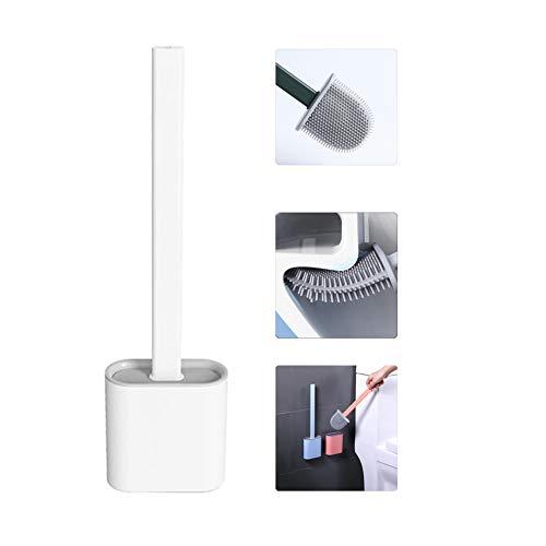 Flache Silikon Toilettenbürste mit Halter, Flaxible Klobürste, Silikon WC-Bürste und Halter Set für Badezimmer