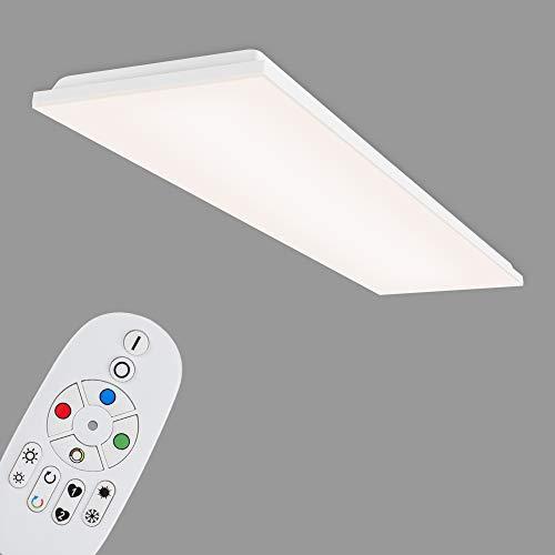 Briloner Leuchten - LED Panel, LED Deckenlampe dimmbar, rahmenlos, Farbtemperatursteuerung, RGB, inkl. Fernbedienung, 40 Watt, 5.200 Lumen, Weiß, 1195x295x57mm (LxBxH), 7349-416