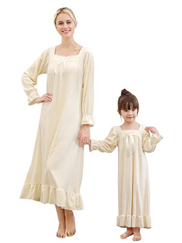 Minetom Nachthemd Damen Langarm Pyjama Kleid große Größen Schlafkleid viktorianischer Stil Nachtkleid Aprikose DE 34 (Damen)