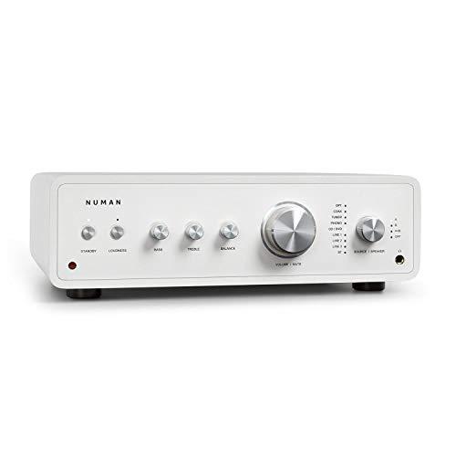 NUMAN Drive Stereo-Verstärker Digital, HiFi Verstärker, Retro, Ausgangsleistung: 2 x 170 W / 4 x 85 W RMS, 5 x Linein / 1 x Plattenspieler-Anschluss / 1 x CoaxIn / 1 x OpticalIn, Weiß