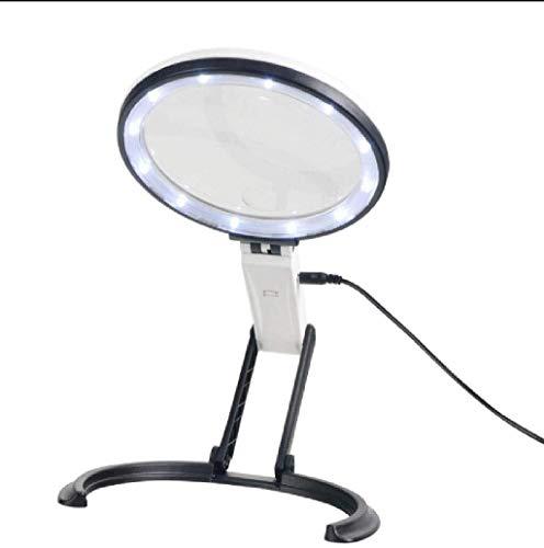 Lupa de artesanía creativa Escritorio LED y de mano de aumento lupa operación de lectura - diseñado con un LED plegable lámparas 12 - alimentado por una batería o un cable USB - lupa para leer