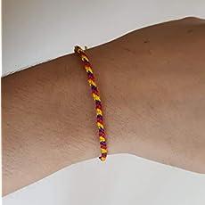 PULSERA de MACRAME Bandera España Franja AZUL MARINO II: Amazon.es: Handmade
