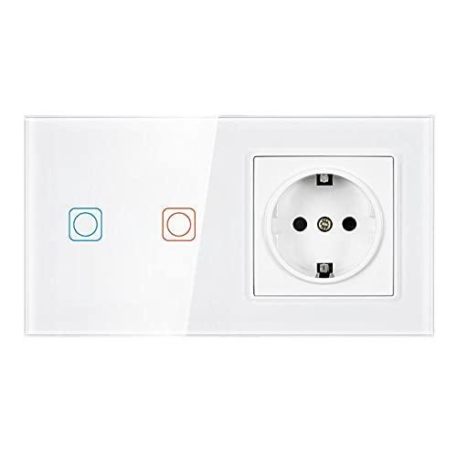 TUYA App UE 2Frame Switch Wireless Wireless y panel de cristal de cristal 153 * 82mm 16a Toma de pared con interruptor inteligente 2gang toque