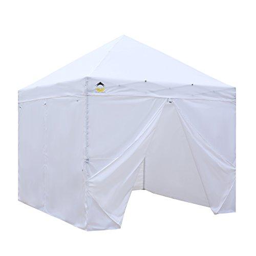 CROWN SHADES Pavillon 3x3m mit 4 Abnehmenbaren Seitenwänden Reißverschluss Inkl. Tragetasche,Weiß