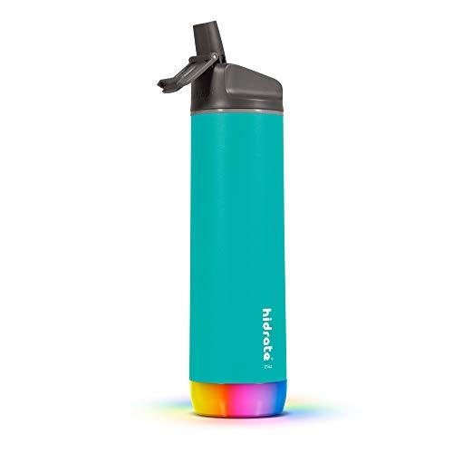 Hidrate Spark - Botella de Agua Inteligente de Acero, rastrea el Consumo de Agua y Brilla para recordarte Que te Mantengas hidratado, Paja, 21 oz, Azul Verdoso Sea Glass