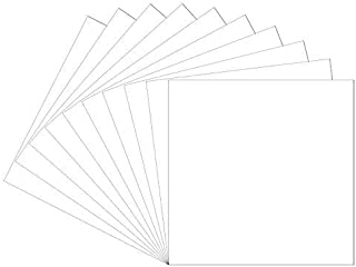 "12""x12"" Permanent Adhesive Backed Vinyl Sheets, 10 Pack (Glossy White) Oracal 651 for Cricut, Shilhoutte, Craft Cutters… for Lettering, Marking, Decoration, Decals, Bumper Stickers, Window Graphics."