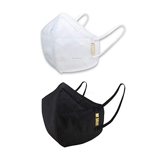 Arctic Fox N95 Respirator Mask Gold Series (White and Black, Pack of 2)