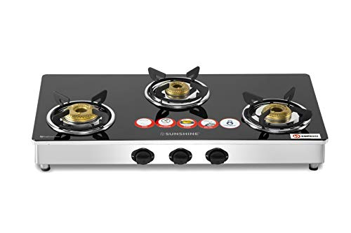 Sunshine Trendo 3 Burner Gas Stove Manual Ignition (Glass Top, 2 years warranty with Doorstep Service)