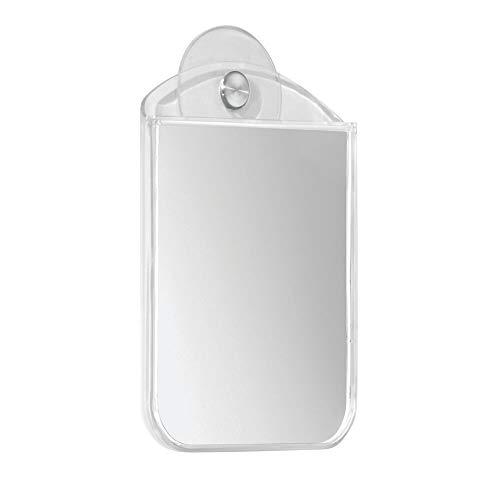 mDesign Beschlagfreier Rasierspiegel und Schminkspiegel Bad – Duschspiegel mit Saugnapf – der ideale Kosmetikspiegel – beschlägt nicht – durchsichtig