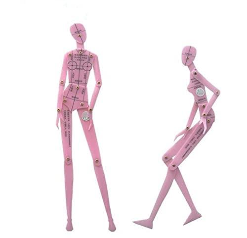 Chengyida - 2 piezas de moda femenina plantilla de dibujo regla de ropa diseño de cuerpo humano dinámico regla mano efecto dibujo estilo junta giratoria