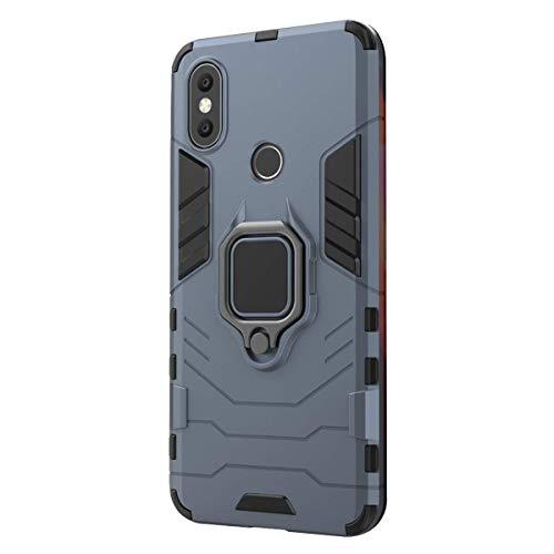 Funda Xiaomi Mi A2 / 6X Carcasa, Borde de Silicona Negro Duro PC Case Anti-Arañazos, Anti-Golpes, con Anillo Grip Kickstand para Xiaomi Mi A2 / 6X (Xiaomi Mi A2 / 6X, Azul)