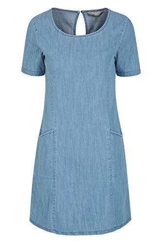 Mountain Warehouse Flora Damen-Denim-Kleid – 100% Baumwolle, Damen-Sommerkleid, leicht, atmungsaktiv, entspannte Passform, Crew-Ausschnitt – ideal für Reisen, im Freien Denim 42