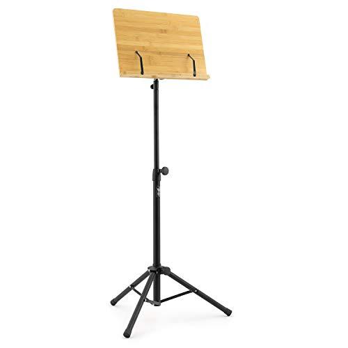 Theodore - Soporte de madera de bambú para música orquestal, soporte de música de escritorio de bambú con base de trípode