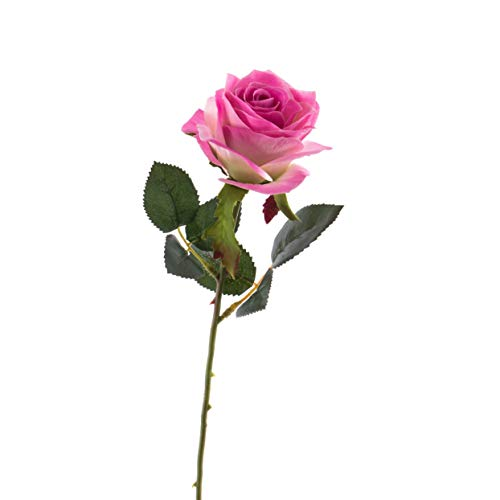 artplants.de Künstliche Rose Simony, rosa-pink, Textil, 45cm, Ø 8cm - Kunstblume - Kunstrose