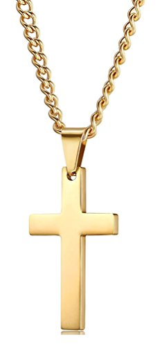 Xusamss Hip Hop Religion Gold Stainless Steel Cross Tag Pendant Necklace,22inches