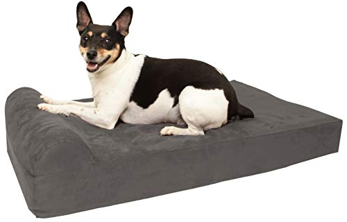 "Barker Junior - 4"" Pillow Top Orthopedic Dog Bed with Headrest for Medium Size Dogs 30-50 Pounds"
