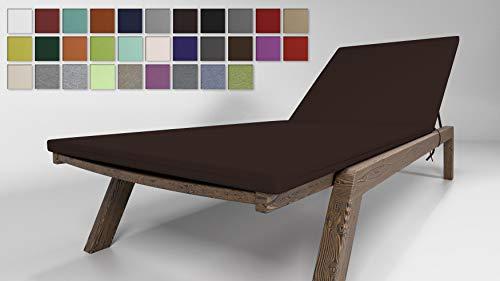 Rollmayer Sitzkissen für Sonnenliege Auflage Polster für Gartenliege Liegestuhl Strandliege Kollektion Vivid (Schokoladenbraun 29, 190x54x4cm - 1 Stück)