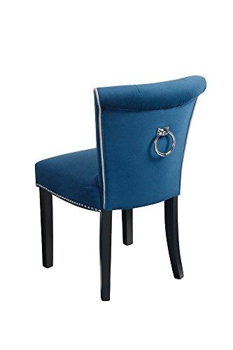 My-Furniture Positano Blu - Sedia da Pranzo tappezzata di Alta qualità a Bottoni e con Anello nel Retro.