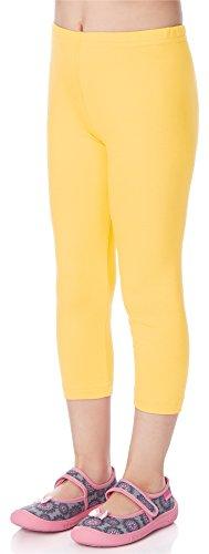 Merry Style Leggins 3/4 Mallas Pantalones Piratas Ropa Deportiva Niña MS10-131 (Amarillo, 110 cm)