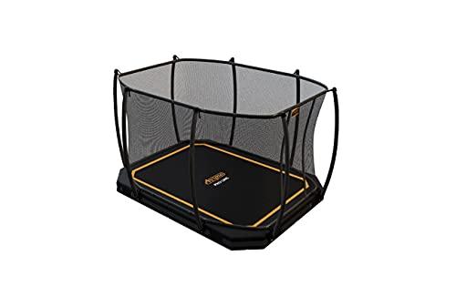 SOLO TRAMPOLINO Tappeto elastico interrato rettangolare 305x225cm con rete di sicurezza - nero. Approvato per uso pubblico. Garanzia a vita sul telaio