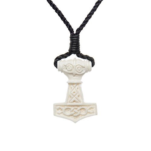81stgeneration Women's Men's Hand Carved Bone Celtic Norse Thor Hammer Amulet Charm Pendant Necklace