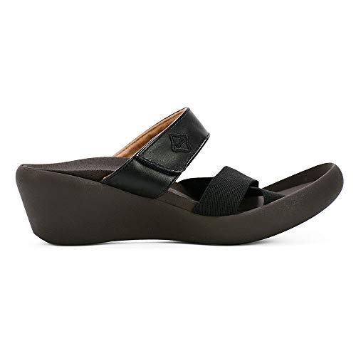 RegettaCanoe Womens Sandals Wedges: Comfortable Vegan Leather Wedge Sandal for Women, Casual Platform Sandals with Sole Support, Platforms for Everyday Wear, Low Wedge Eglantine Black