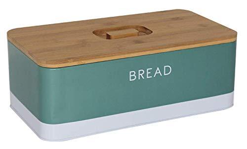 Box and Beyond Boite à Pain en métal - Couvercle en Bambou - Vert - 33x18x12cm