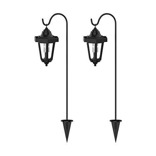 "Pure Garden 50-123 Solar Powered Set of 2, 32"" Hanging Coach Lanterns with 2 Shepherd Hooks-LED Outdoor Lighting for Gardens, Pathways, and Patio, Black"