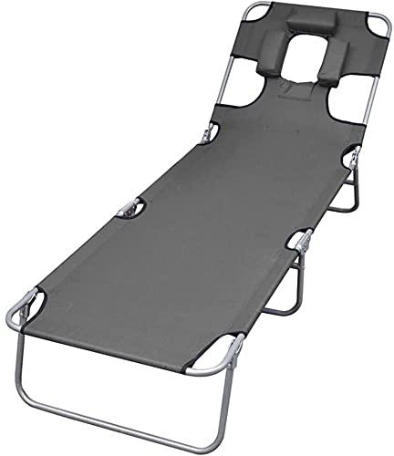 HCMNME Tumbona Plegable SunSounger Plegable con cojín de Cabeza Ajustable Patio Patio Dibujo cómodo Tumbado para al Aire Libre Gris