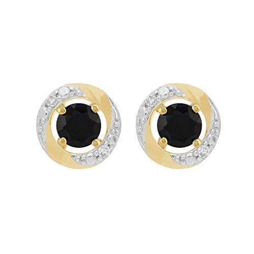 Gemondo 9 ct oro Amarillo Oscuro Azul Zafiro Stud Pendientes & desmontable Diamond Halo Ear Jacket