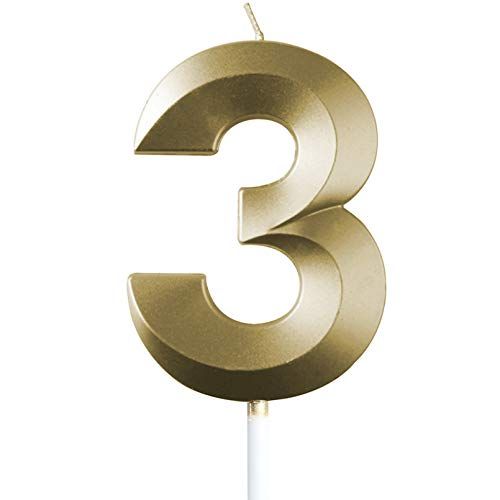 "saizone Velas de Números, Velas numéricas para Tarta de cumpleaños, Decoraciones para Tartas, Velas de cumpleaños, Color Dorado champán, decoración para Tartas con Purpurina 0-9.""3"""