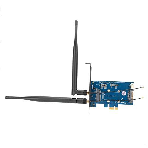 Adaptador PCIE Wifi, Adaptador inalámbrico de banda dual, PCI-E a PCI-E 1X Periférico de red para Win10 / 8/7/2000 WinCE/Linux/OS X
