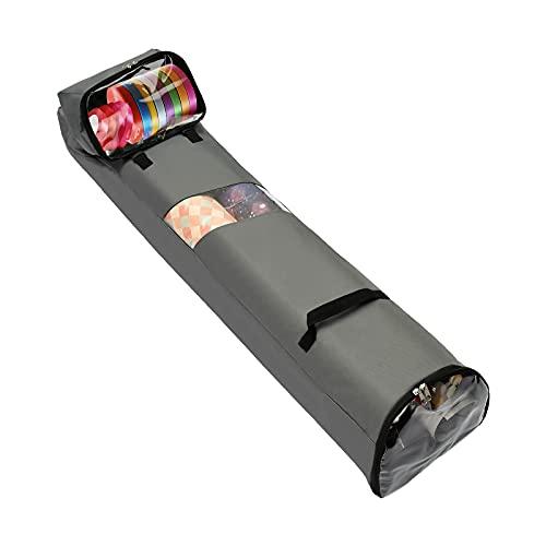 QYLJZB Caja de almacenamiento de papel de regalo de Navidad, bolsa de almacenamiento de papel de regalo con accesorios desmontables y asas de tela de nailon 600D duradera