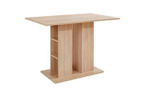 HOMEXPERTS Säulentisch MULAN / Moderner Esstisch aus Melamin Sonoma Eiche beige / passend zur Eckbank MULAN / Küchentisch mit Stauraum / mit Ablage / 110 x 70 x 75 cm (L x B x H) / Küchentisch