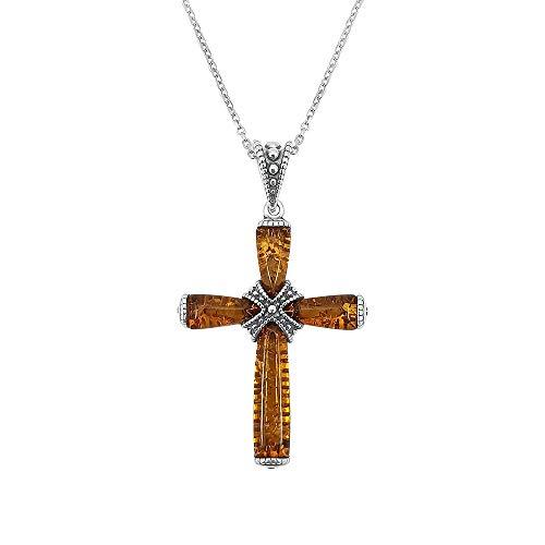 Kiara sieraden, 925 sterling zilver, bruin, barnsteen gesp kruis hanger, ketting op 18