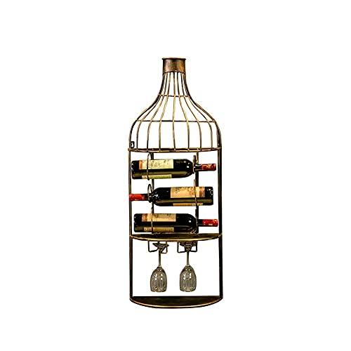 Estante de mesa para vino montado en la pared, estante de hierro vintage para decoración de bar puede contener 3 botellas de vino tinto y colgar 2 copas adecuado para restaurante/bar/cafetería