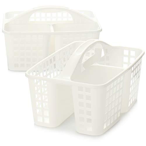 com-four® Cesta de Almacenamiento 2X, Cesta de Ducha con asa, Organizador portátil de plástico con 3 Compartimentos Cada uno para artículos de higiene, Productos de Limpieza y Limpieza
